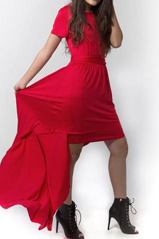 Asymmetrical Solid Red Rose Dress
