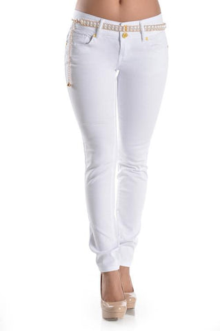 Sexy Fit White Skinny Jeans Free Belt