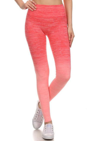 CORAL CONTRAST YOGA PANTS - tavoosfashion