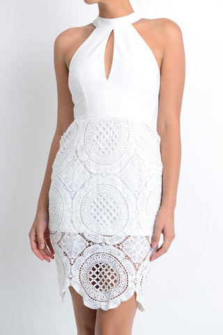 Athena White Halter Lace Dress