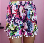 Colorful Floral Print Pom Pom Short - tavoosfashion