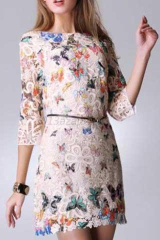 CLASSY BUTTERFLY PRINT LACE DRESS - tavoosfashion