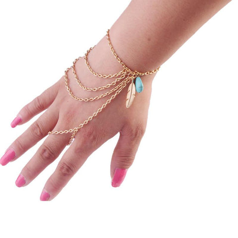 Boho Simple Link Chain Finger Multilayer Bracelet - Teal