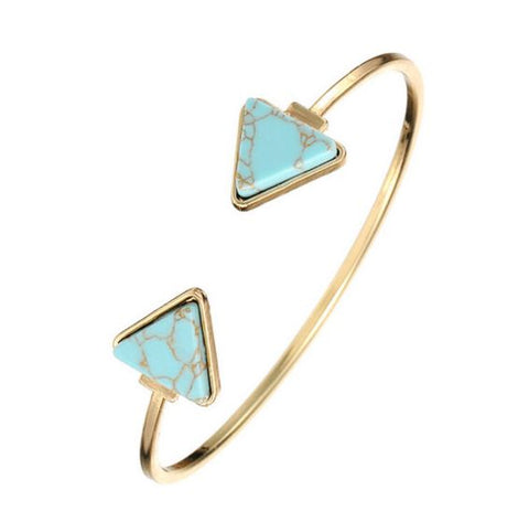 GOLD MARBLE TRIANGLE CUFF BRACELETS - tavoosfashion