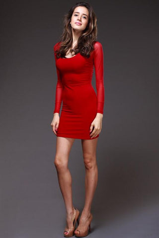 Charlotte Sexy Back O-neck Long Sleeve Hot Dress - Red