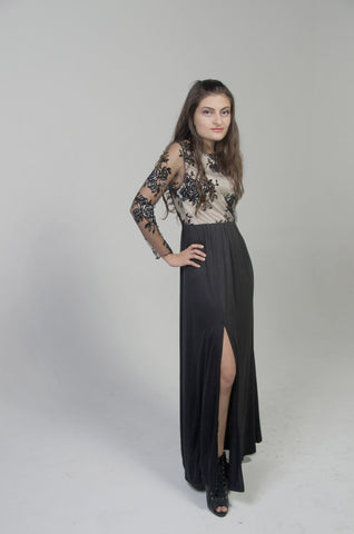 MAXI ELEGANT LONG BLACK DRESS - tavoosfashion