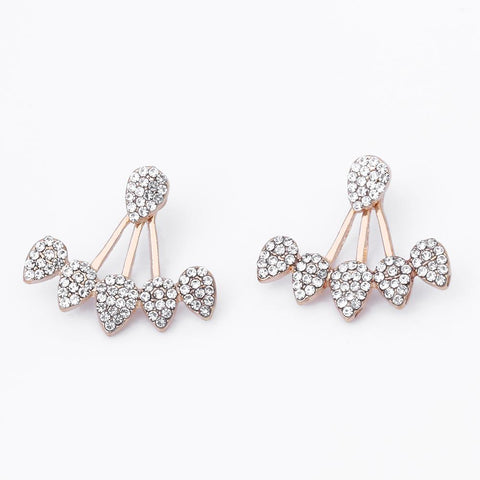 Drop Crystals Stud Earring for Women gold color Double Sided Fashion Jewelry Earrings