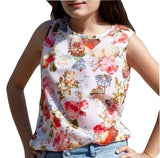 WHITE FLORAL PATTERN TOP - tavoosfashion