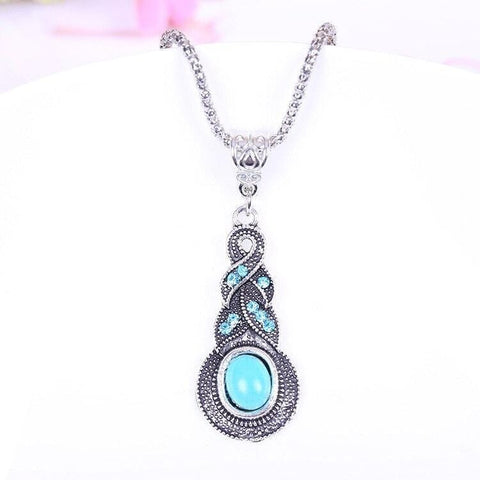 TURQUOISE VINTAGE STYLE NECKLACE - tavoosfashion