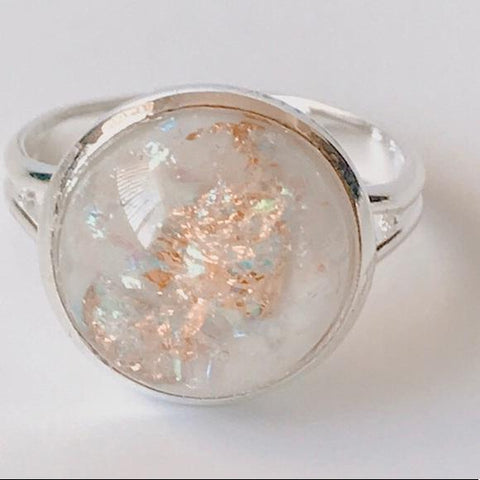 HANDMADE WHITE OPAL RING - tavoosfashion