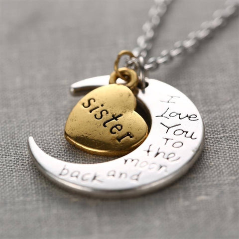 I Love You Gold Engraved Pendants Statement Necklace