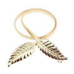 ELASTIC WOMEN LEAF DESIGN CLASP FRONT METAL WAIST BELT - GOLD