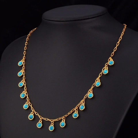 Blue Turquise Stone Statement Necklace - tavoosfashion