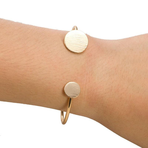 SIMPLE ROUNDED GEOMETRIC ADJUSTABLE BANGLE - tavoosfashion