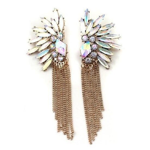 TASSEL ANGEL WING CRYSTAL EARRINGS - tavoosfashion