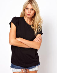 Vivanna Wing Back Short Sleeve Hollow Wings Black Top