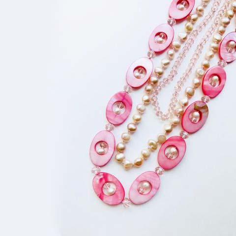 MOTHER PEARL PINK BEADS LONG NECKLACE - tavoosfashion