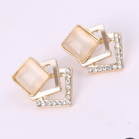 GEOMETRY SQUARE OPAL STUD EARRINGS - tavoosfashion