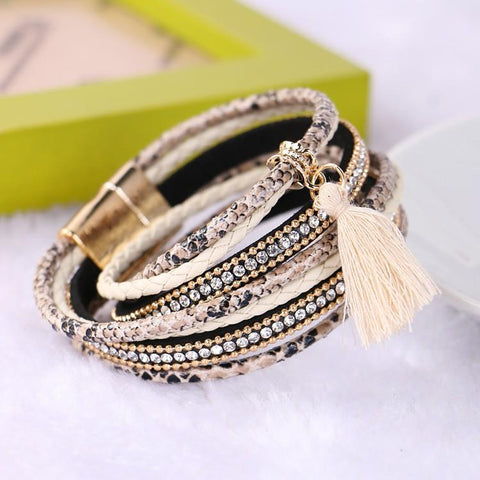 Women's Crystal Layered Stacking Stackable Wrap Bracelet Leather Bracelet Leather Rhinestone Imitation Diamond Ladies Luxury Unique Design Fashion Multi Layer Bracelet Jewelry Beige