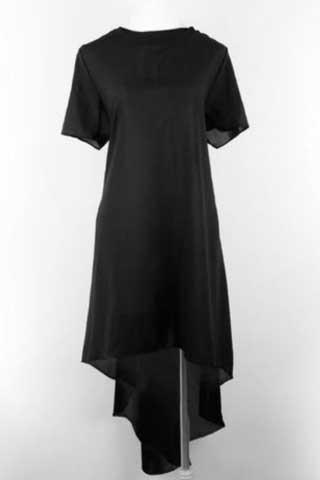 ASYMMETRICAL IRREGULAR DRESS - MIDNIGHT BLACK - tavoosfashion