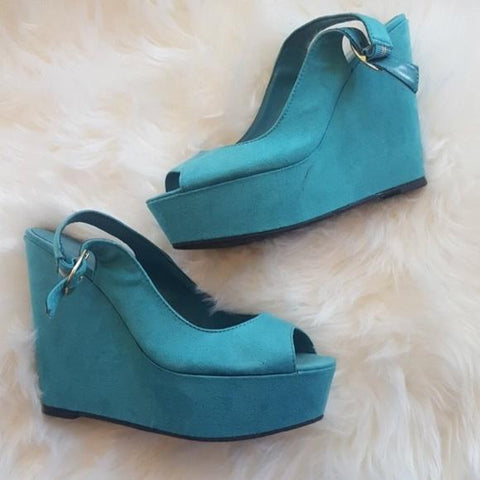 TEAL WEDGES SHOES HEELS   - tavoosfashion