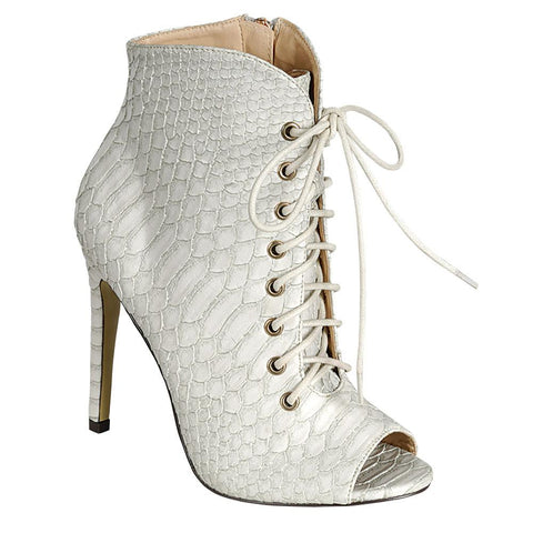 EYE CANDIE TIMELESS WOMEN'S PEEP TOE LACE-UP HEEL SHOES - White