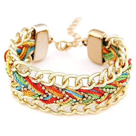 TRENDY CHAIN STATEMENT CORD BRACELET - tavoosfashion