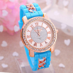 Quartz Watch Diamond Wristwatches Women Silicone Platinum Chain - Sky Blue