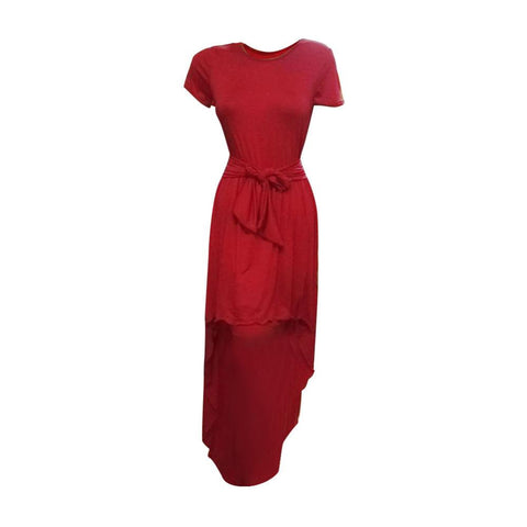 Asymmetrical Solid Dress - Red Rose