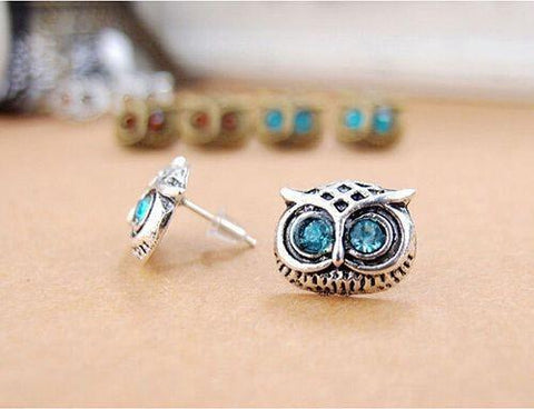 Small Crystal Vintage Bronze Owl Stud Earrings - tavoosfashion