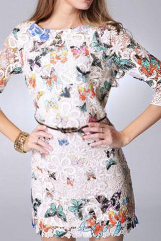 Above Knee-Mini Dress-Yasi- Colorful-lace-White-Lace-Butterfly-Pattern Dress-O-Neck dress-front dress-mid sleeve