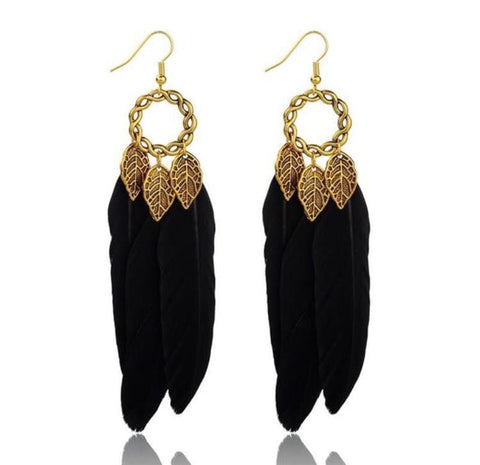 TRENDY FEATHER EARRINGS - tavoosfashion