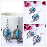 Bohemia Rhinestone Leaf Earrings Jewelry - Turquoise