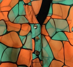 BRITTANY SUMMER PATTERN MULTI COLOR TEAL ORANGE TANK SEXY BLOUSE TOP