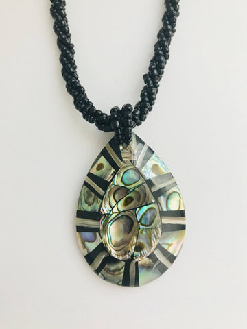 NATURAL ABALONE SHELL PENDANT BEADS NECKLACE - tavoosfashion