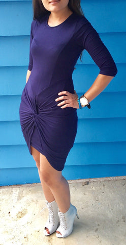 Asymmatric Side Draped Bodycon Dress with Stretch - Navy