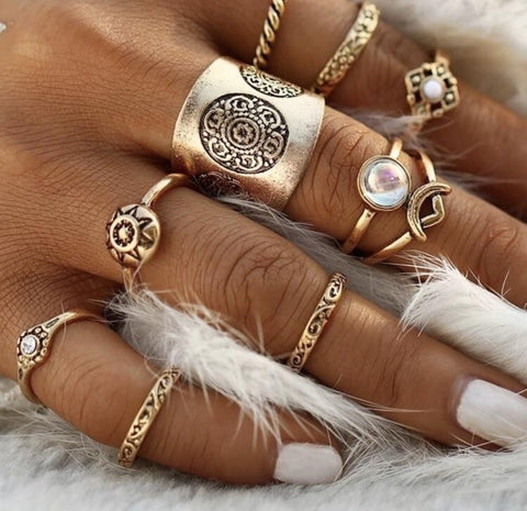 Gold Plate Trendy Marc Ring Sets