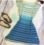 Zina BLUE CONTRAST WITH GOLD STRIPS SUMMER TOP - Blue