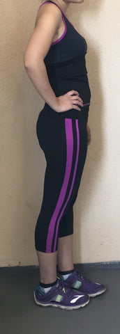 VIOLET CAPERI FIT PURPLE AND BLACK ATHLETIC ACTIVE GYM SET - tavoosfashion