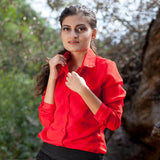 Megan Red Chiffon Blouse Long Sleeve Work Wear