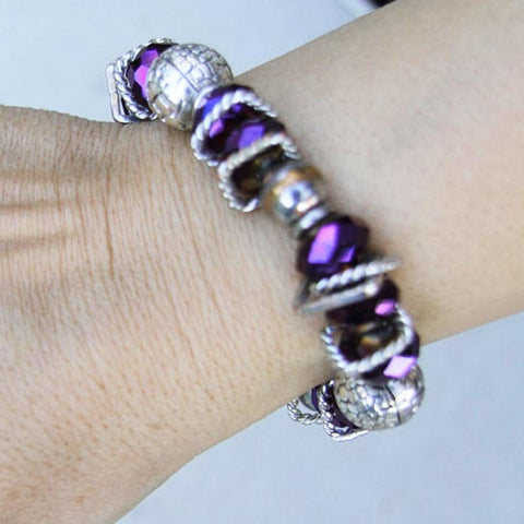 z ADJUSTABLE HANDMADE PURPLE BEADS BRACELET