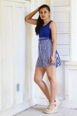 Amelia Blue White Strip Spring Mini Dress Comes with a Belt