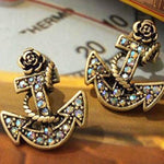 VINTAGE RHINESTONE ANCHOR EARRINGS - tavoosfashion