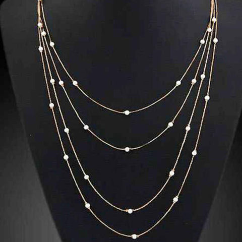 Elegant Simulated Pearl Beads Long Multi-Layer Pendant Necklace