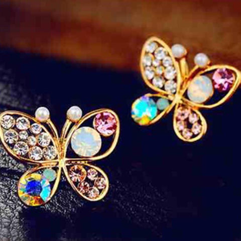 RHINESTONE BUTTERFLY EARRINGS - tavoosfashion