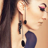 Black Gem Tassel Pendant Ear Hook - tavoosfashion