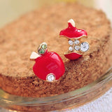 CRYSTAL APPLE STUD EARRINGS - tavoosfashion