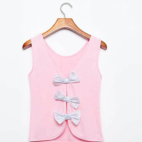 Best Friends 3 Bows Top - Pink