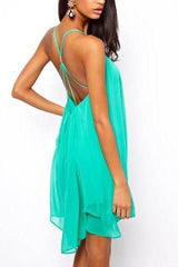 Anna Sexy Open Back Beach Teal Dress