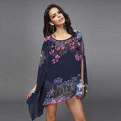 Jasmine Chiffon Blouse Summer Short Sleeve Floral Print Navy Loose Floral